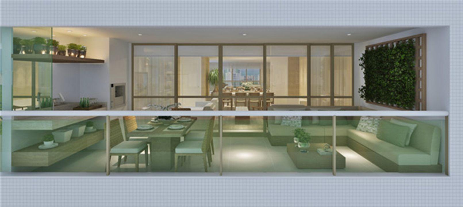 Perspectiva ilustrada da varanda gourmet apartamento decorado 170,18m²