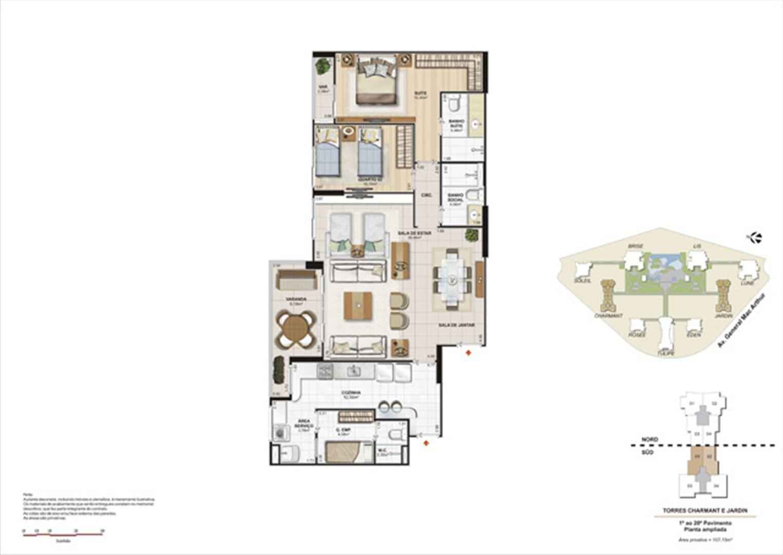 Planta 107,15m² ampliada charmant e jardin  | Le Parc Boa Viagem – Apartamentoem  Boa Viagem - Recife - Pernambuco