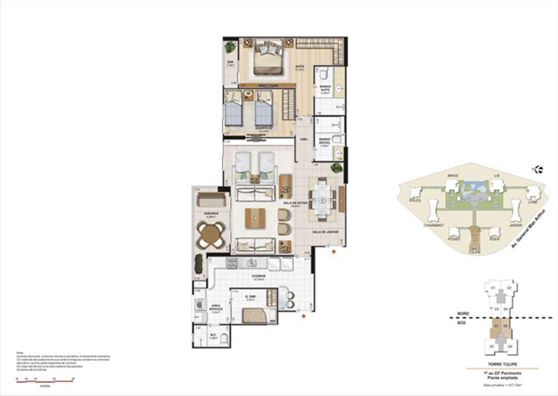Planta 107,15m² ampliada tulipe  | Le Parc Boa Viagem – Apartamento em  Boa Viagem - Recife - Pernambuco
