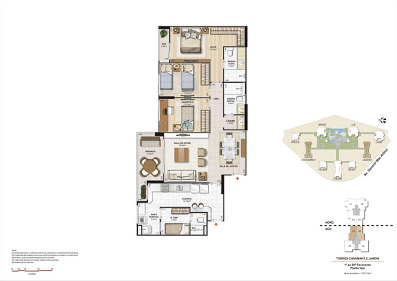 Planta 107,15m² tipo charmant e jardin | Le Parc Boa Viagem – Apartamentoem  Boa Viagem - Recife - Pernambuco
