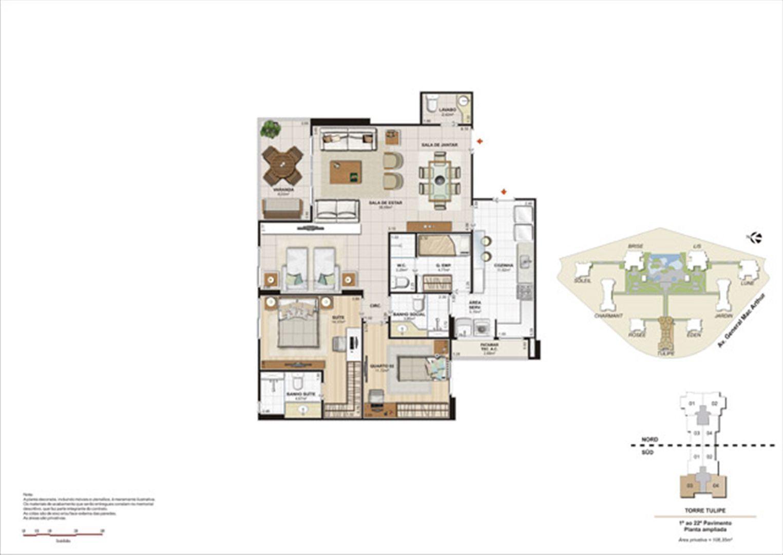 Planta 108,35m² ampliada tulipe  | Le Parc Boa Viagem – Apartamento em  Boa Viagem - Recife - Pernambuco