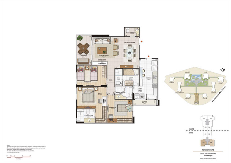 Planta 108,35m² tipo tulipe | Le Parc Boa Viagem – Apartamento em  Boa Viagem - Recife - Pernambuco