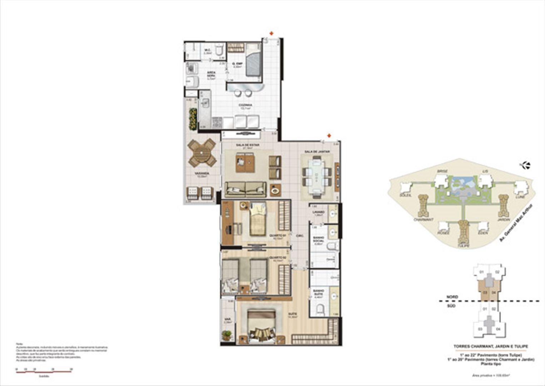 Planta 109,65m² tipo tulipe, charmant e jardin | Le Parc Boa Viagem – Apartamento em  Boa Viagem - Recife - Pernambuco