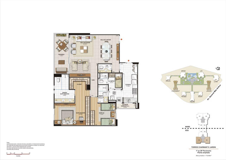 Planta 119,46m² ampliada charmant e jardin  | Le Parc Boa Viagem – Apartamentoem  Boa Viagem - Recife - Pernambuco