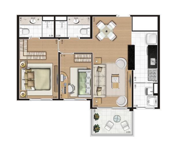 Planta Apartamento -  61m² Privativos | Andalus by Cyrela – Apartamento no  Morumbi - São Paulo - São Paulo