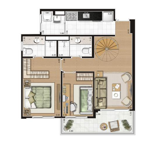 Planta Duplex Inferior - 116,5m² Privativos | Andalus by Cyrela – Apartamento no  Morumbi - São Paulo - São Paulo