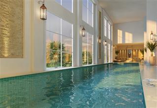 Perspectiva ilustrada da piscina coberta com raia de 25 metros
