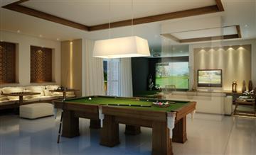Perspectiva ilustrada do salão de jogos com simulador de golfe