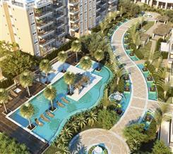 Perspectiva ilustrada da vista aérea das piscinas