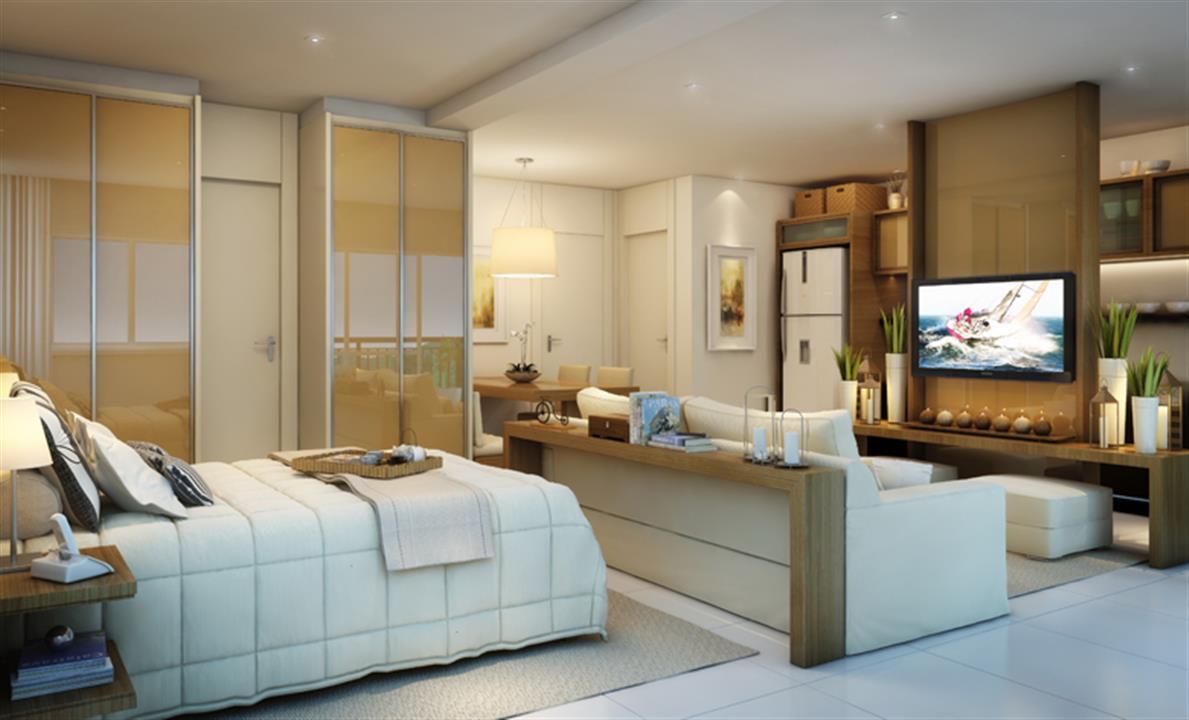 Perspectiva ilustrada do Living do Apartamento de 47m² privativos