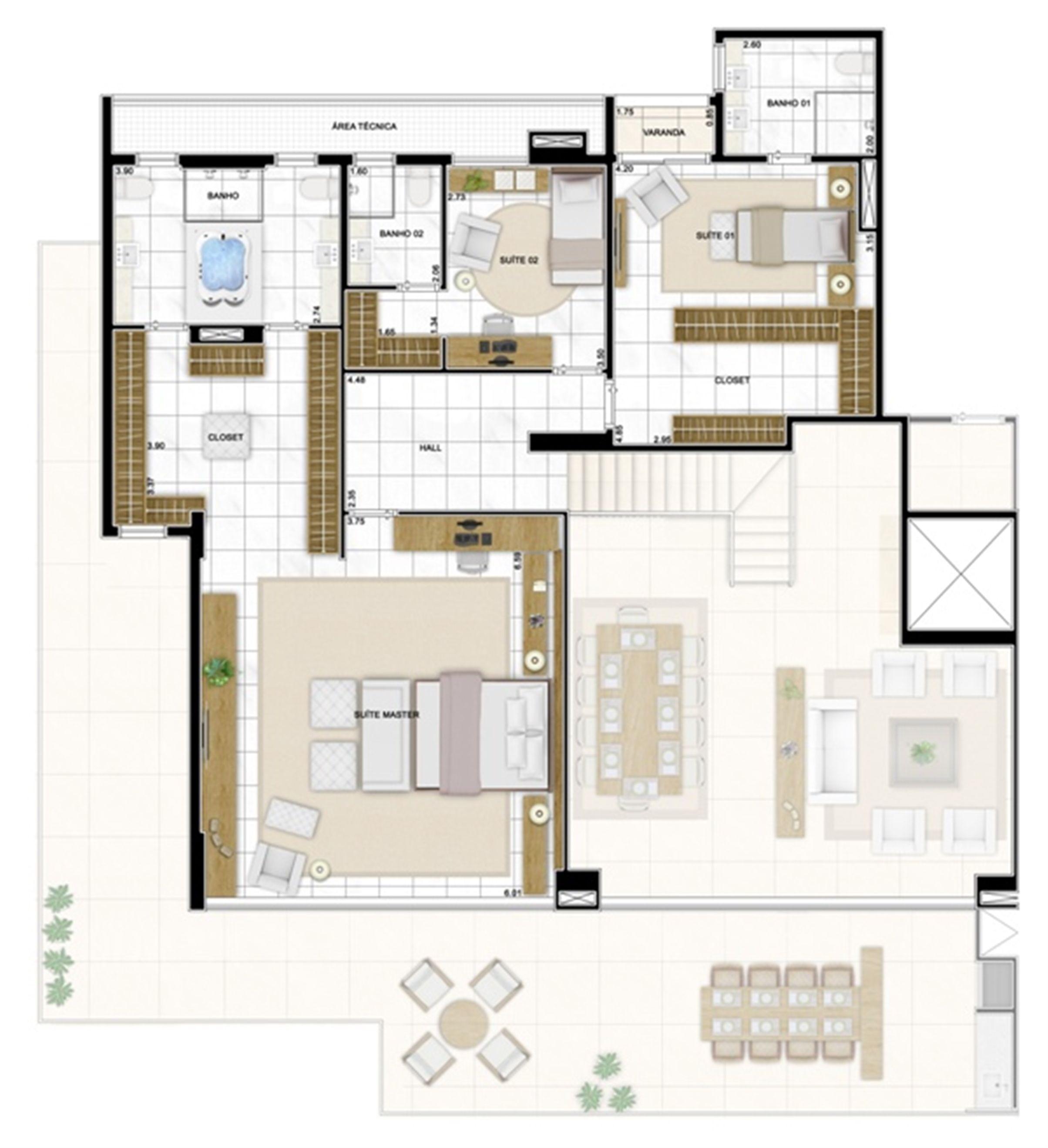 Planta Duplex Superior 406m² | Infinity Areia Preta – Apartamento na  Areia Preta - Natal - Rio Grande do Norte