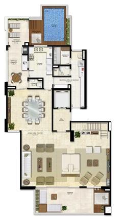 Opção 1 - duplex (PiscinaEspaço Zen) - 330 m² de área privativa | Vitrine Umarizal – Apartamento em  Umarizal  - Belém - Pará