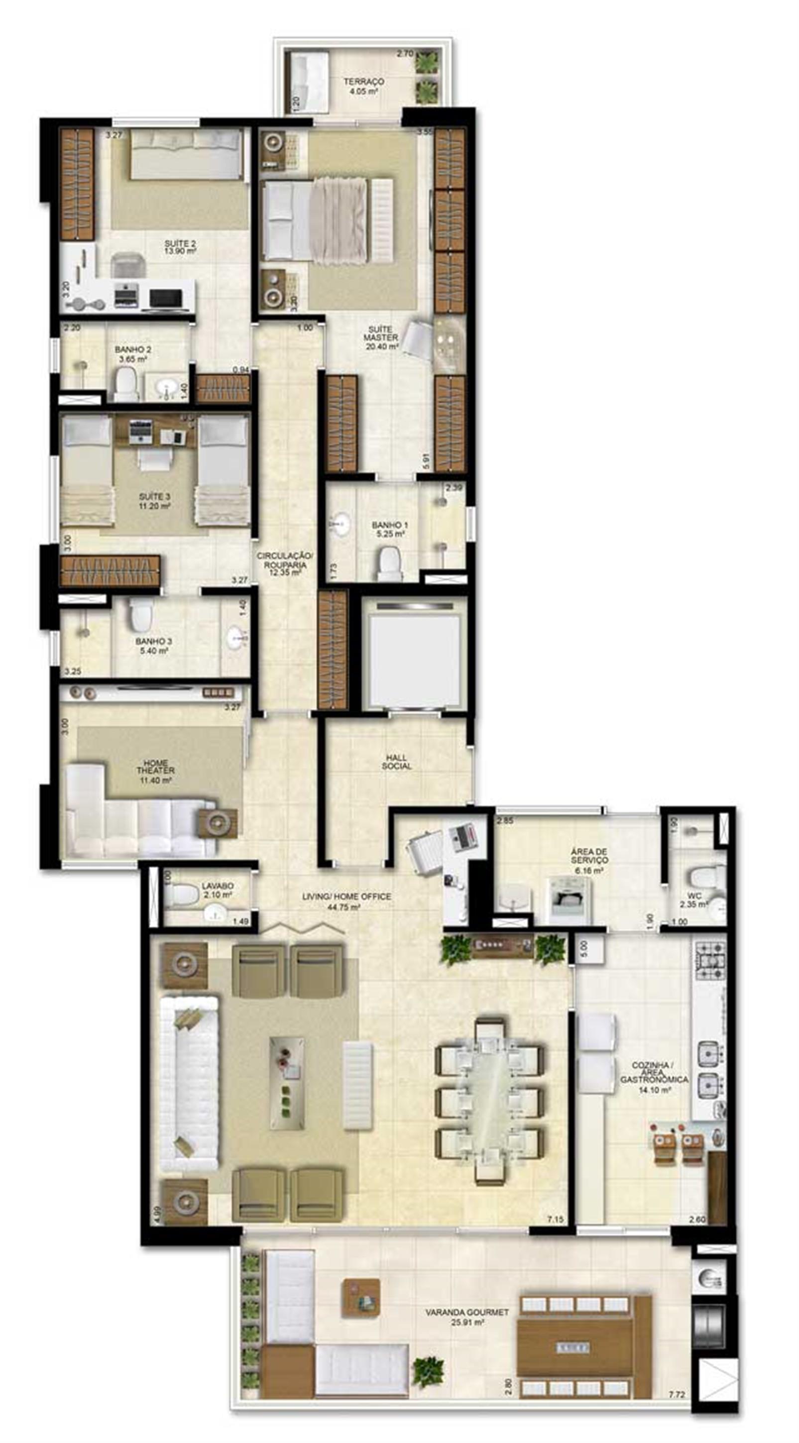Opção de planta com 3 suítes e homme office   183 m² de área privativa | Vitrine Umarizal – Apartamentoem  Umarizal  - Belém - Pará