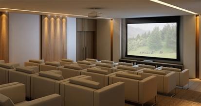 Perspectiva ilustrada da sala de vídeo