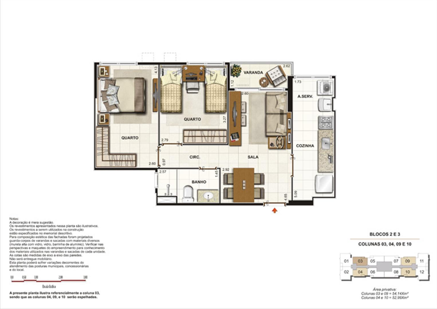 Planta de 2 quartos - 52m² | Splendore Family Club – Apartamento em  Campos - Campos - Rio de Janeiro