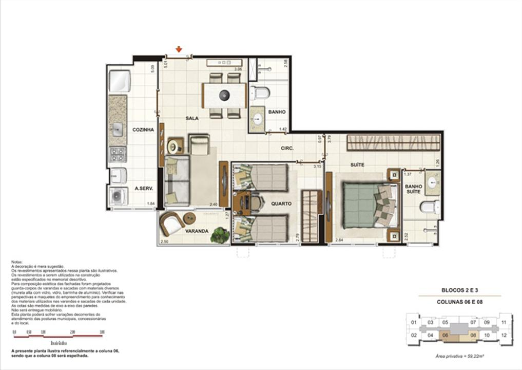 Planta de 2 quartos ( 1 suíte) - 50m² | Splendore Family Club – Apartamentoem  Campos - Campos - Rio de Janeiro
