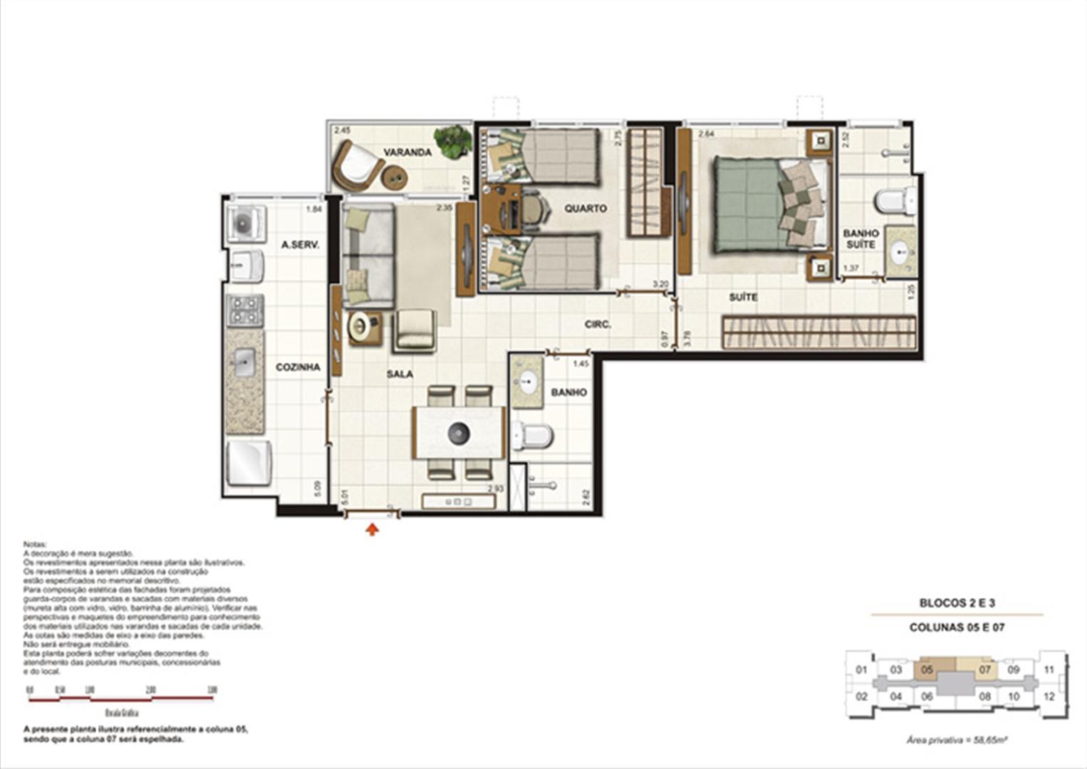 Planta de 2 quartos ( 1 suíte) - 58m² | Splendore Family Club – Apartamento em  Campos - Campos - Rio de Janeiro
