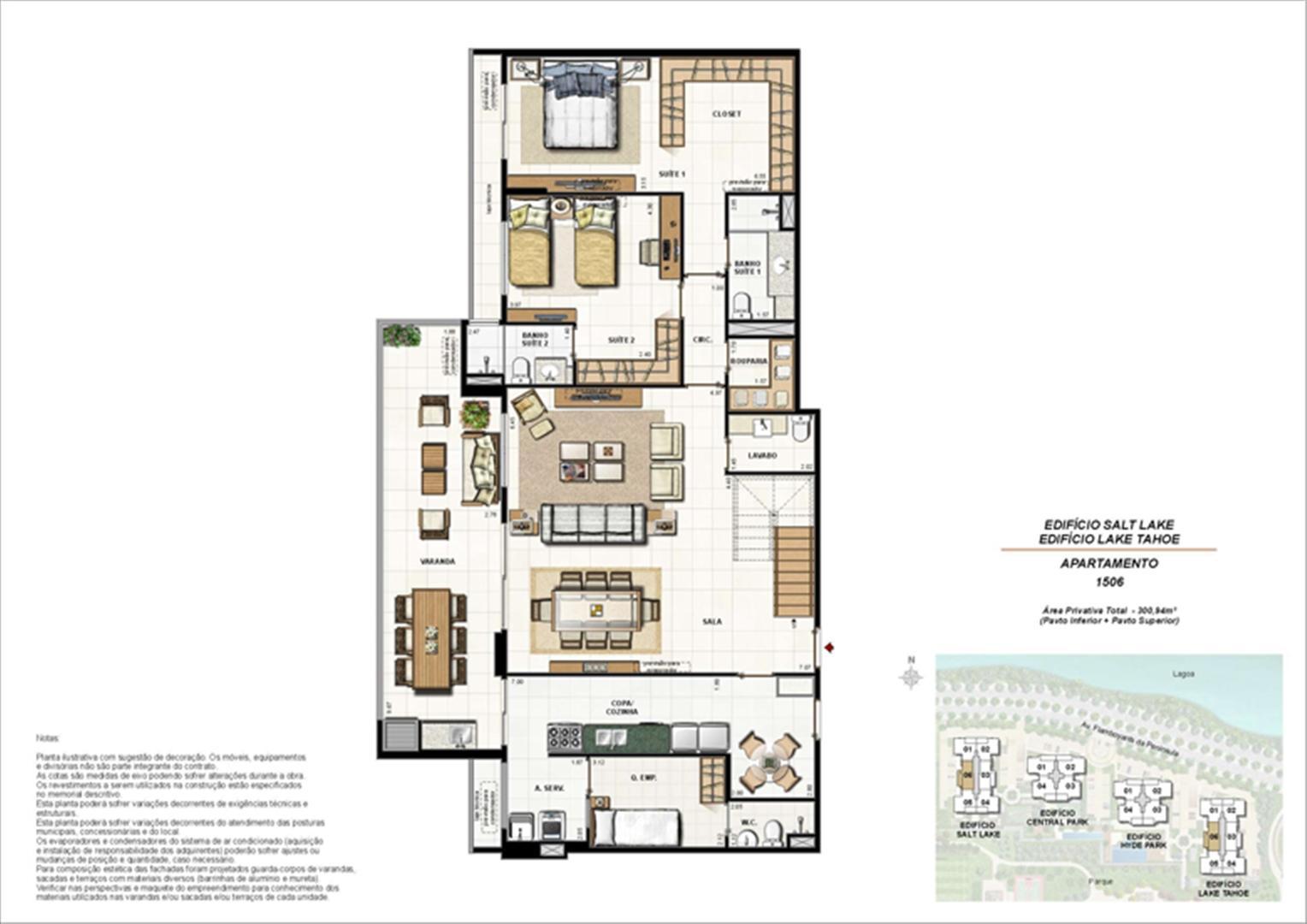 Ed. Salt Lake e Ed. Lake Tahoe - Cob. 300 m² (duplex - pav. inferior) | 360º On The Park – Apartamento na  Barra da Tijuca - Rio de Janeiro - Rio de Janeiro