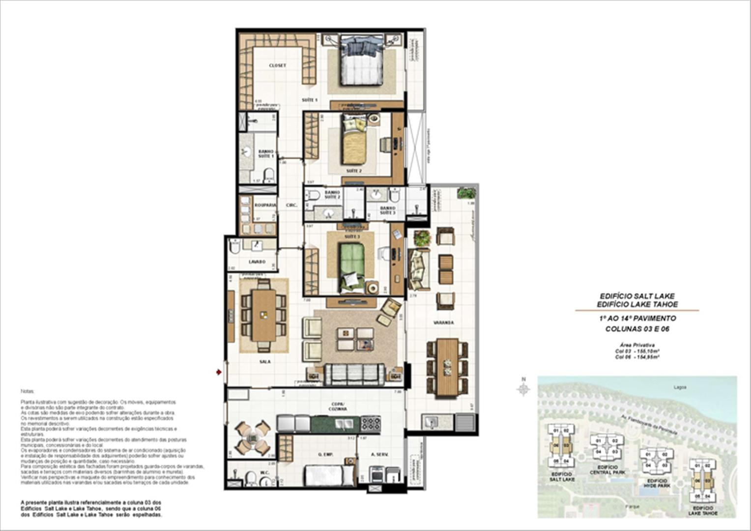 Ed. Salt Lake e Ed. Lake Tahoe - Planta Tipo 155 m² | 360º On The Park – Apartamento na  Barra da Tijuca - Rio de Janeiro - Rio de Janeiro