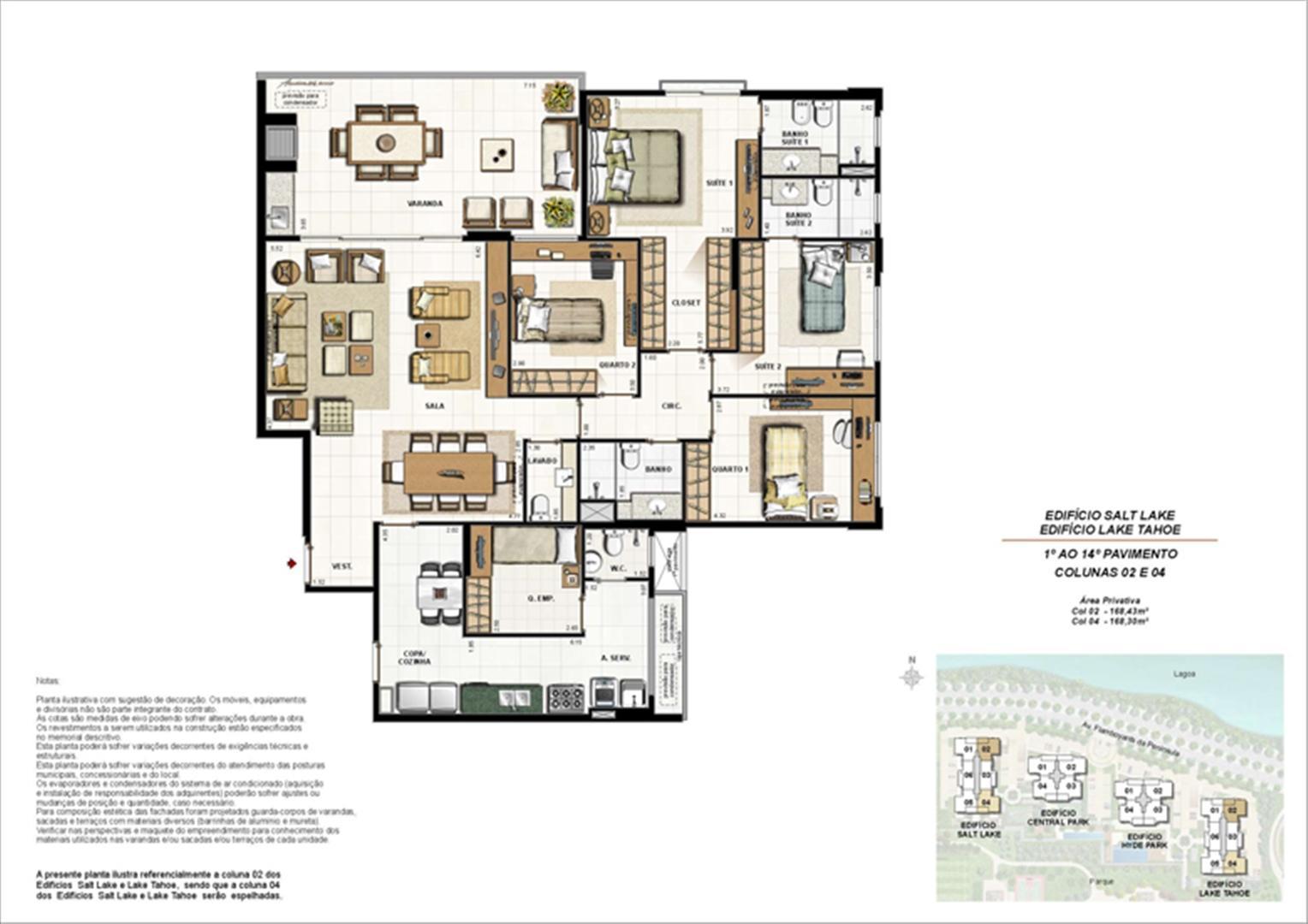 Ed. Salt Lake e Ed. Lake Tahoe - Planta Tipo 168 m² | 360º On The Park – Apartamento na  Barra da Tijuca - Rio de Janeiro - Rio de Janeiro
