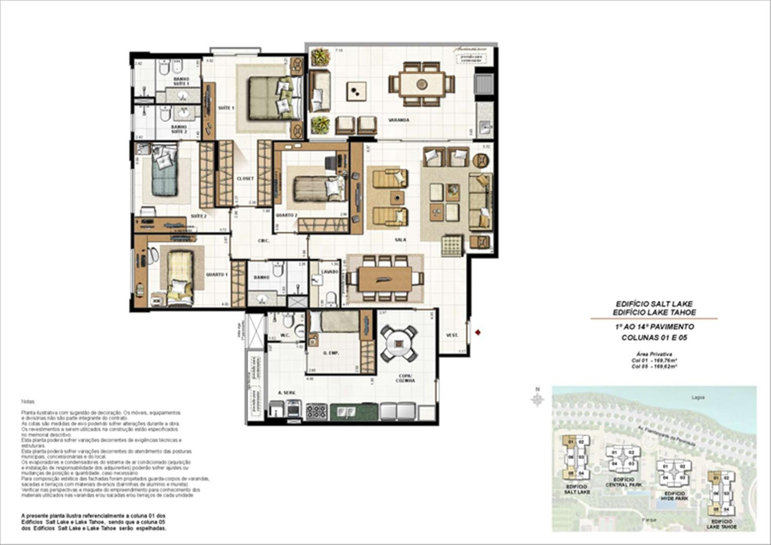 Ed. Salt Lake e Ed. Lake Tahoe - Planta Tipo 169 m² | 360º On The Park – Apartamento na  Barra da Tijuca - Rio de Janeiro - Rio de Janeiro