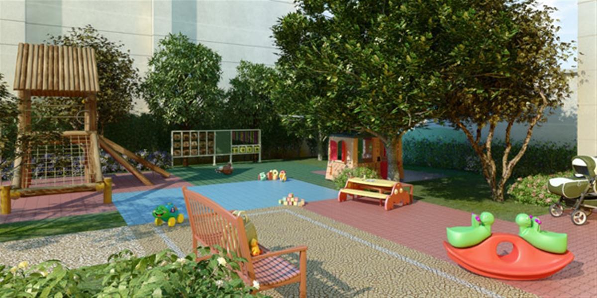 jardim vertical autocad:Perspectiva Ilustrada do Salão de Festas Infantil