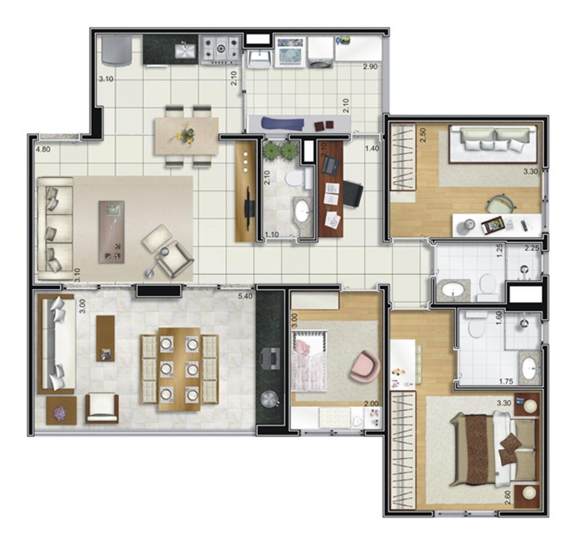 Planta opção 95 m² | Camino – Apartamento no  Belém - São Paulo - São Paulo