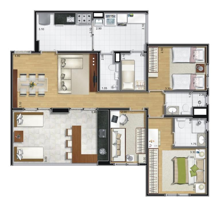 Planta tipo 95 m² | Camino – Apartamentono  Belém - São Paulo - São Paulo