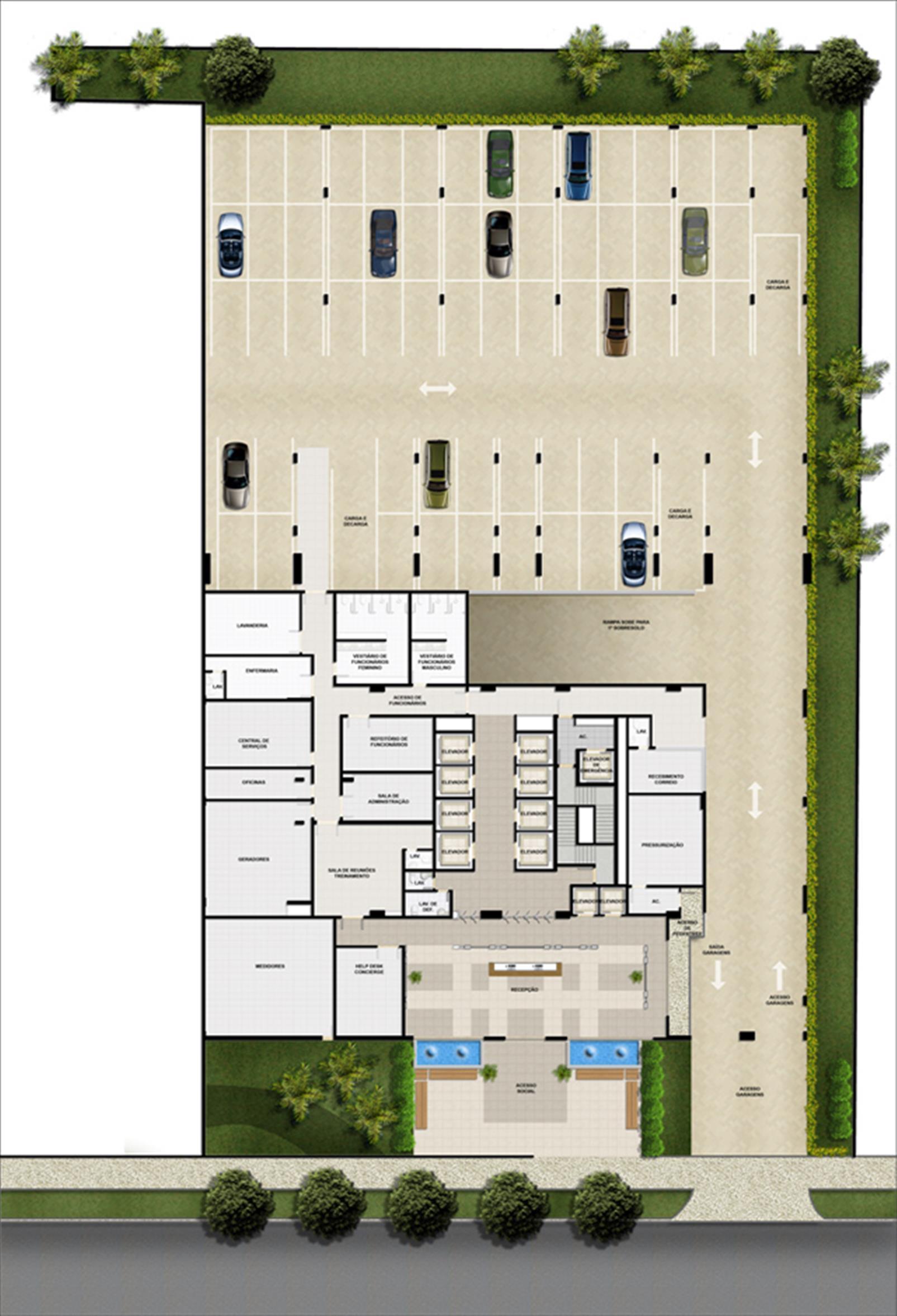 Implantação pavimento térreo | Mirai – Salas Comerciaisem  Umarizal  - Belém - Pará