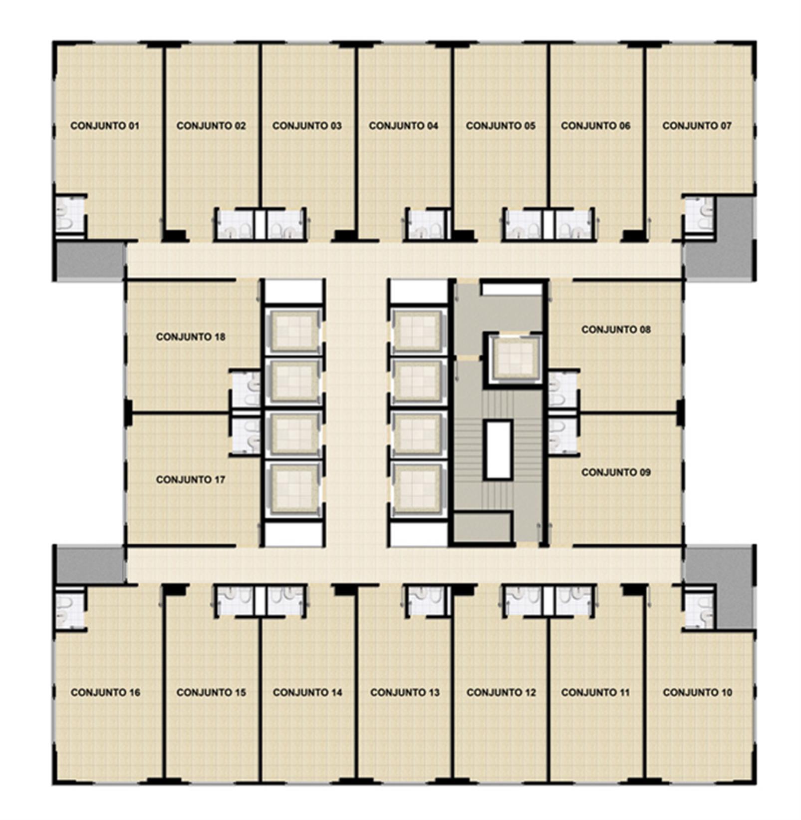 Planta Tipo 2º ao 23º andar | Mirai – Salas Comerciaisem  Umarizal  - Belém - Pará
