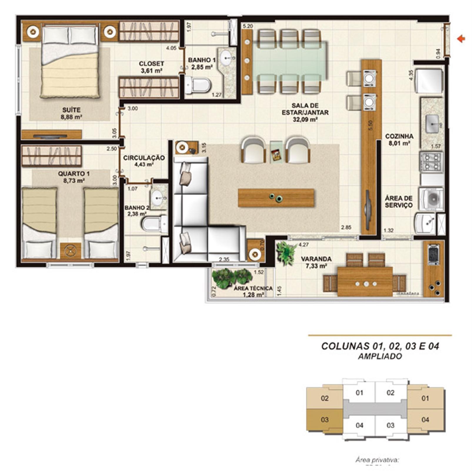 Planta opção 2 quartos (1 suíte e varanda gourmet) 77 m² | Jardim de Toscana – Apartamentoem  Altos do Calhau - São Luís - Maranhão