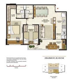Planta tipo 2 quartos (1 suíte e varangda gourmet) 65 m² | Jardim de Toscana – Apartamento em  Altos do Calhau - São Luís - Maranhão