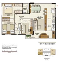 Planta tipo 3 quartos (1 suíte e varanda gourmet) 77 m² | Jardim de Toscana – Apartamento em  Altos do Calhau - São Luís - Maranhão