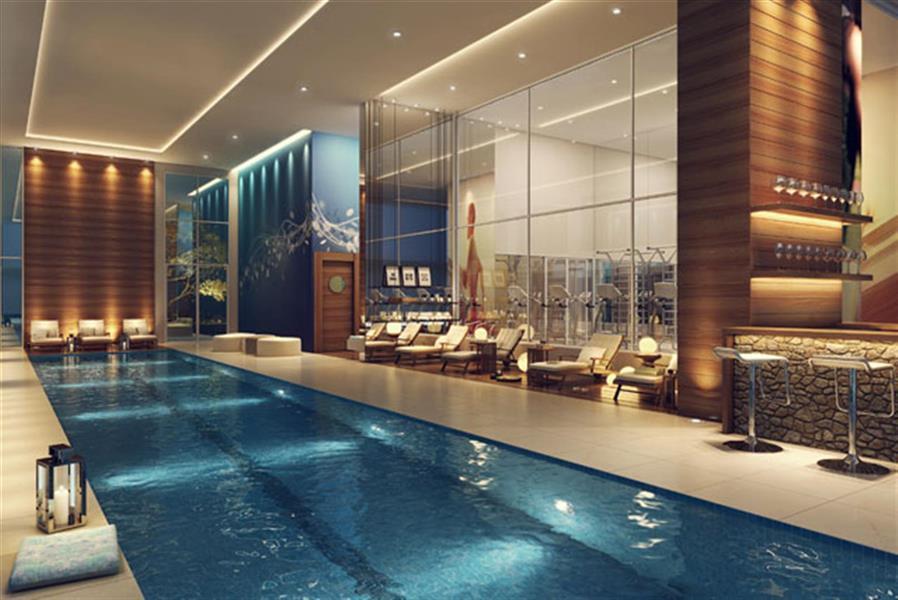 Perspectiva ilustrada da piscina coberta com raia de 25m