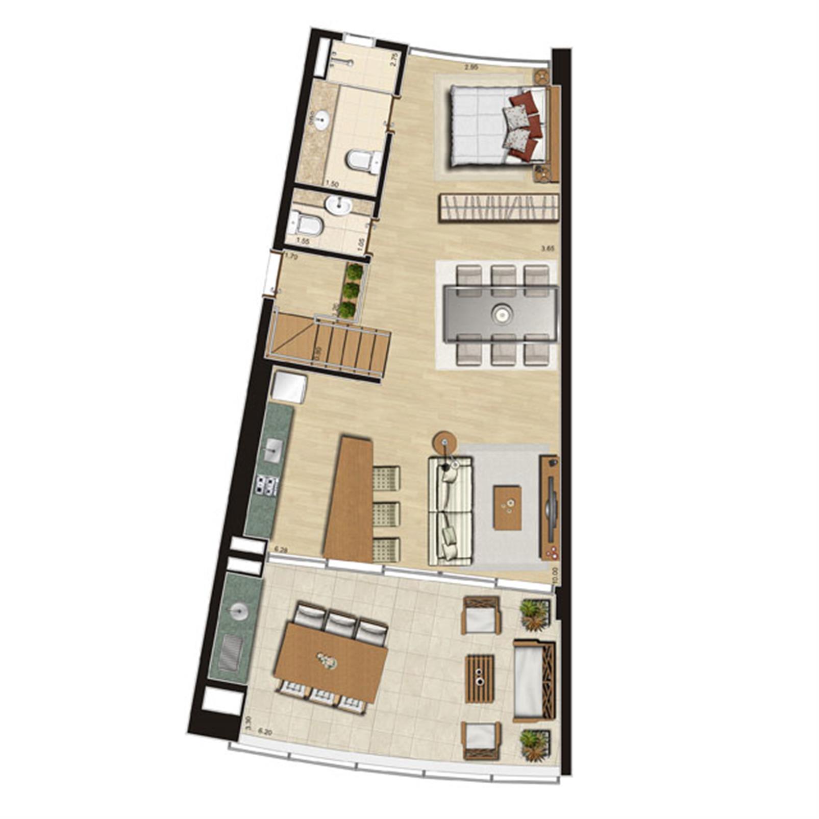 Loft com mezanino | Thera Residence – Apartamentona  Berrini - São Paulo - São Paulo