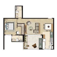 Planta Opção 66m² privativos | Thera Residence – Apartamento na  Berrini - São Paulo - São Paulo