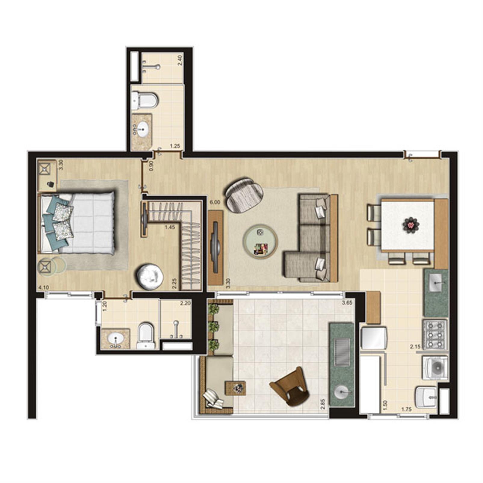 Planta Opção 66m² privativos | Thera Residence – Apartamentona  Berrini - São Paulo - São Paulo