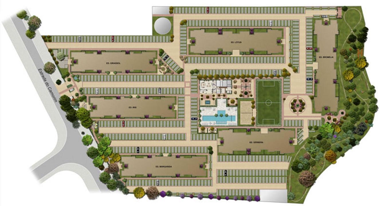 Perspectiva ilustrada da implantação | Floris Bosque Residencial – Apartamentoem  Jacarepaguá - Rio de Janeiro - Rio de Janeiro