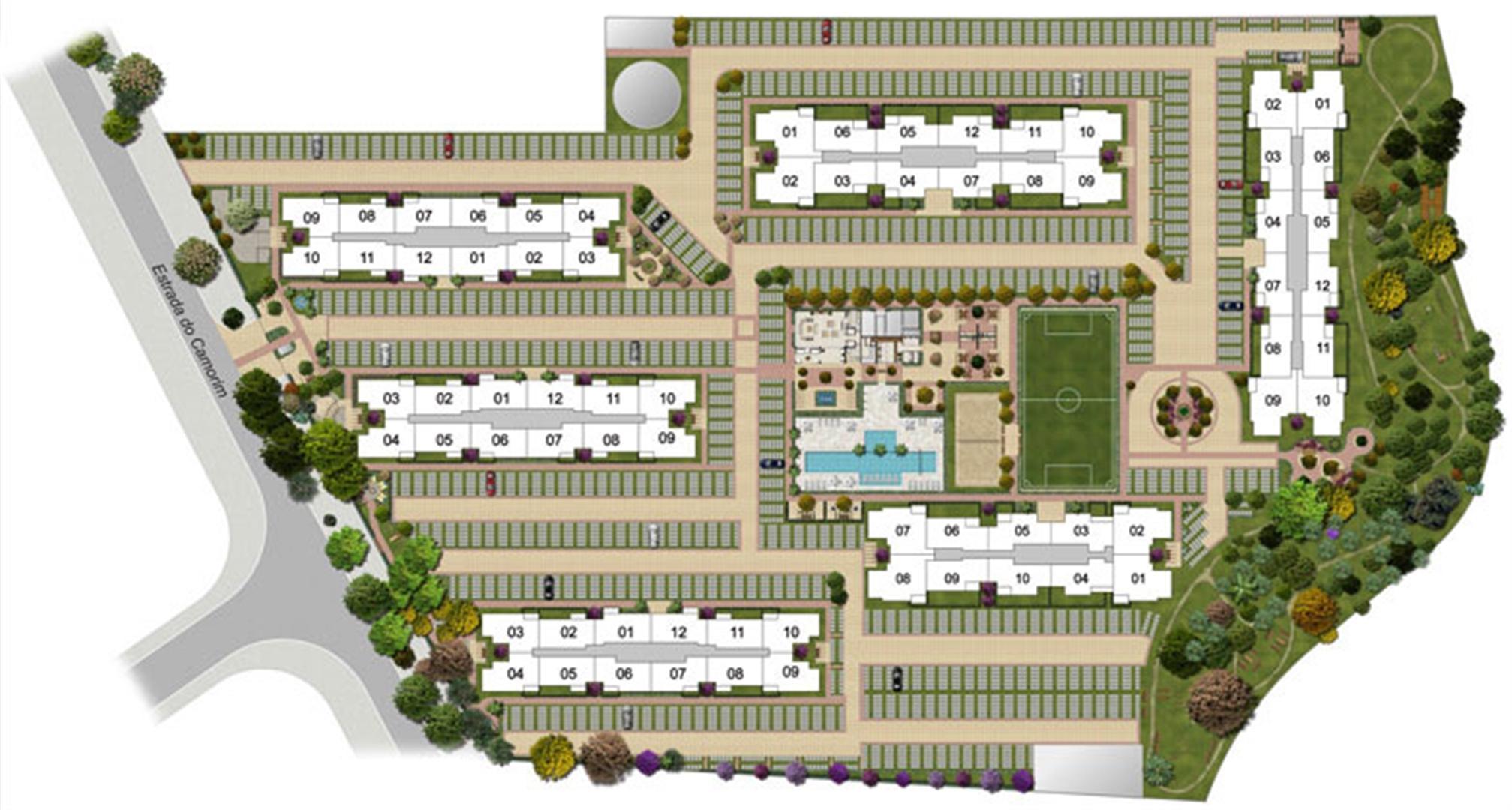 Perspectiva ilustrada da implantação-3 | Floris Bosque Residencial – Apartamento em  Jacarepaguá - Rio de Janeiro - Rio de Janeiro
