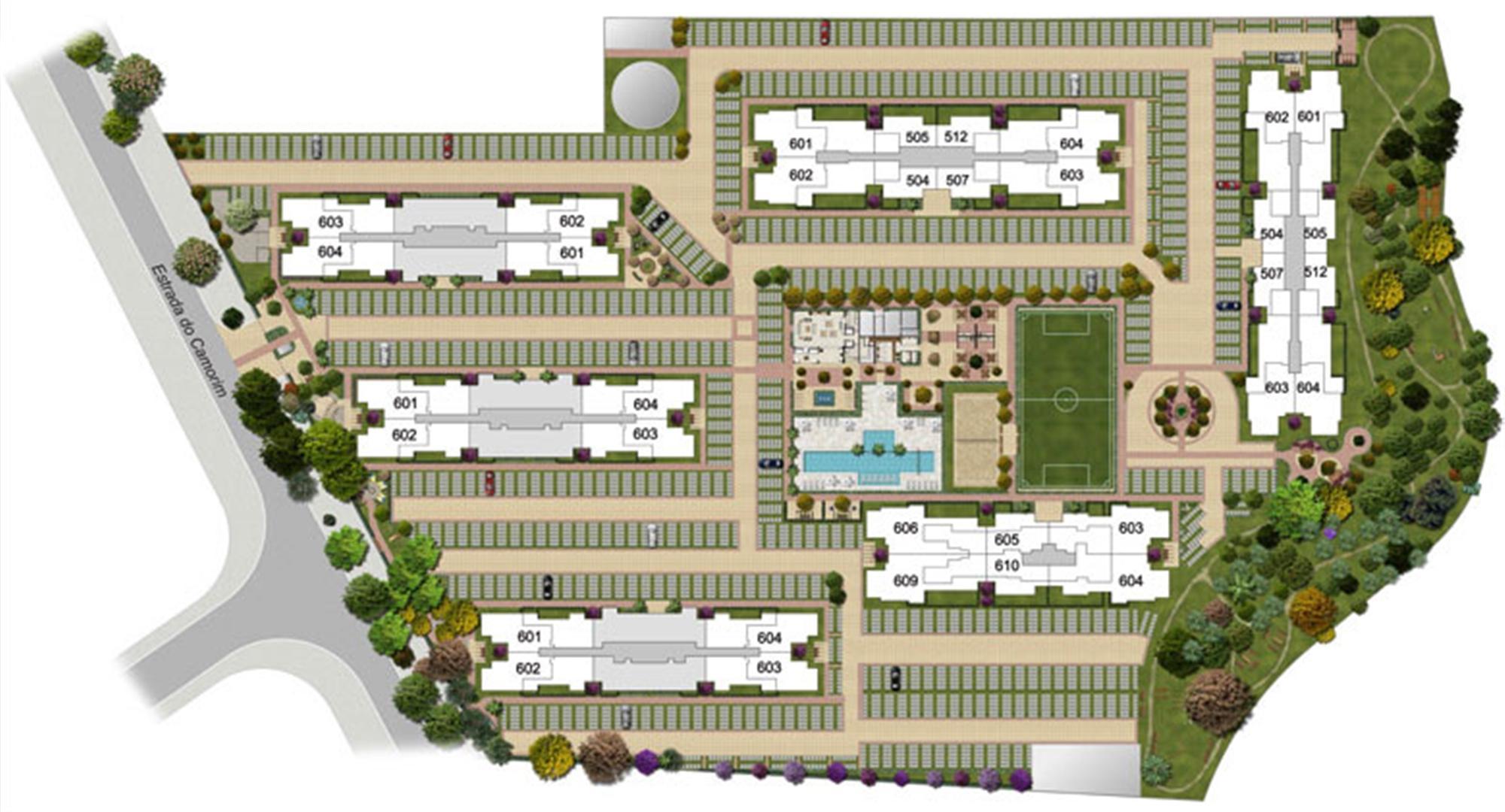 Perspectiva ilustrada da implantação-4 | Floris Bosque Residencial – Apartamento em  Jacarepaguá - Rio de Janeiro - Rio de Janeiro