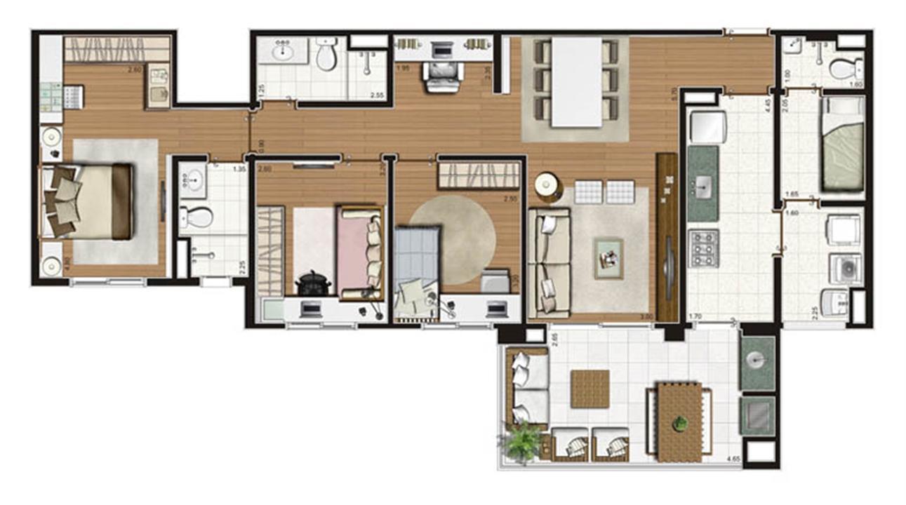 Planta de 110 m² - 3 dorms com 1 suíte | Luzes da Mooca - Villaggio Luna – Apartamentona  Mooca - São Paulo - São Paulo