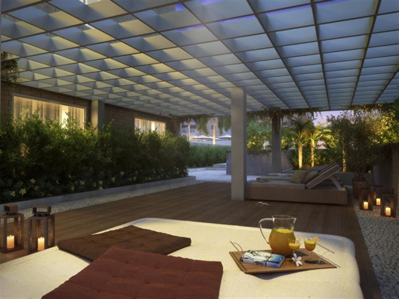jardim vertical autocad:Perspectiva Ilustrada do Descanso sob pergolado