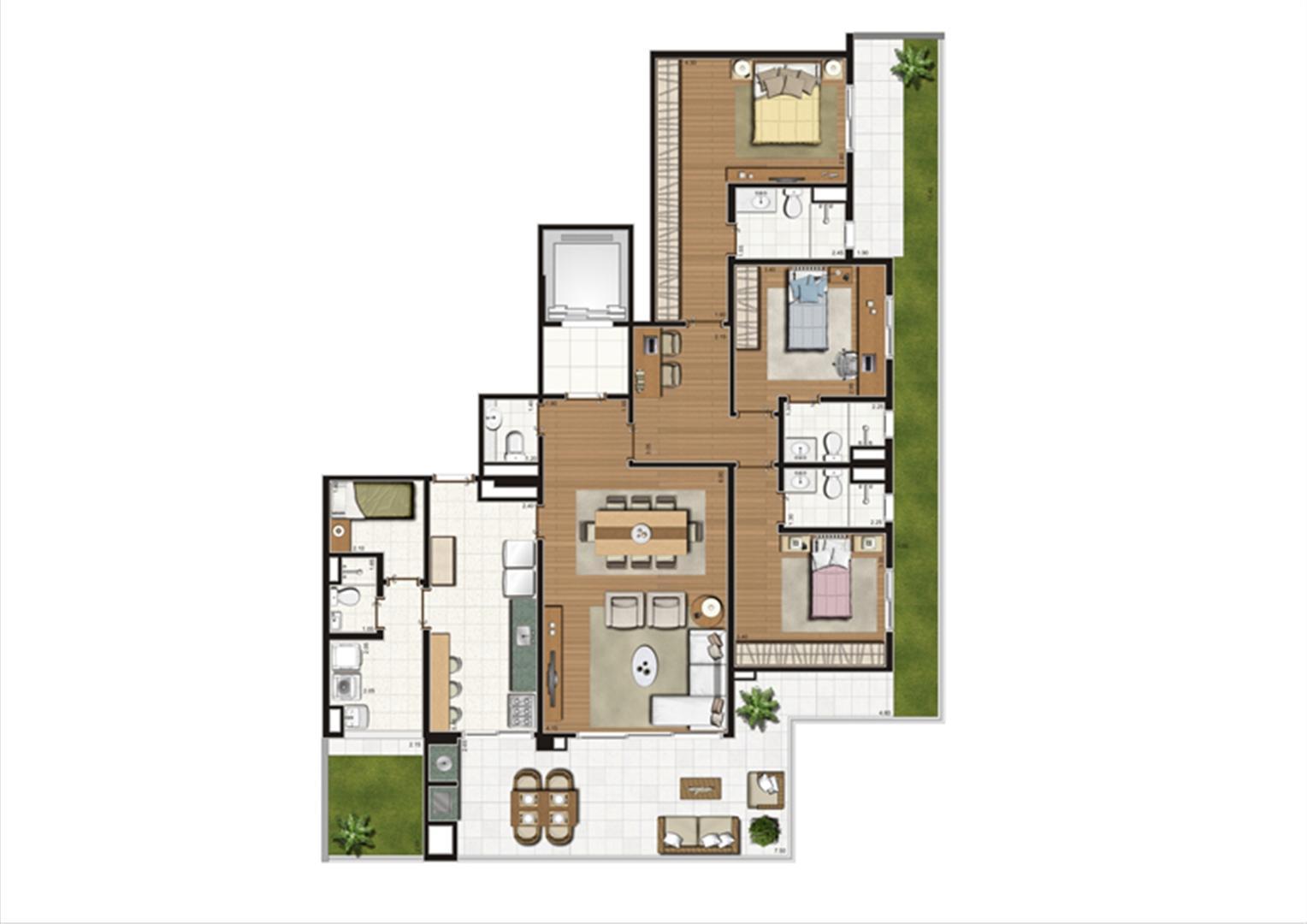 Planta Giardino 180 m² | Luzes da Mooca - Villaggio Luna – Apartamento na  Mooca - São Paulo - São Paulo