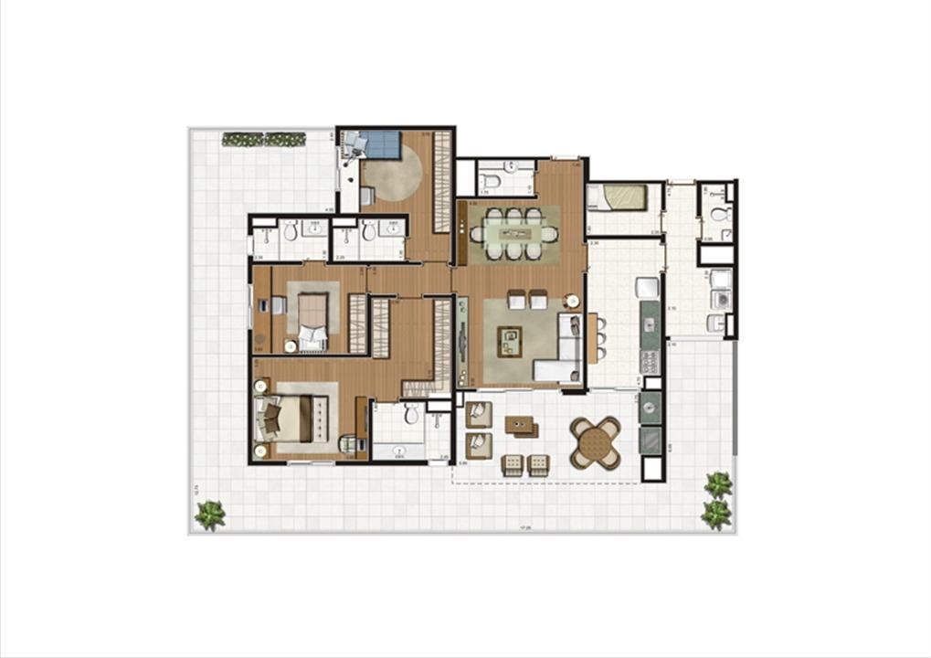 Planta Giardino 214 m² | Luzes da Mooca - Villaggio Luna – Apartamentona  Mooca - São Paulo - São Paulo