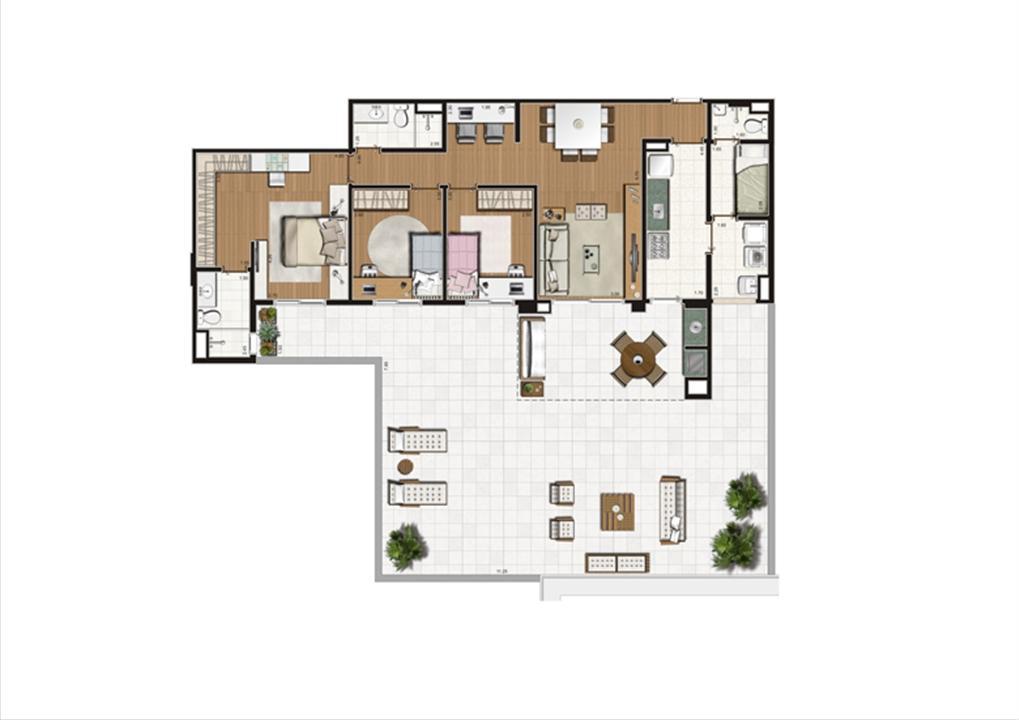 Planta Terrazzo 194 m² | Luzes da Mooca - Villaggio Luna – Apartamentona  Mooca - São Paulo - São Paulo