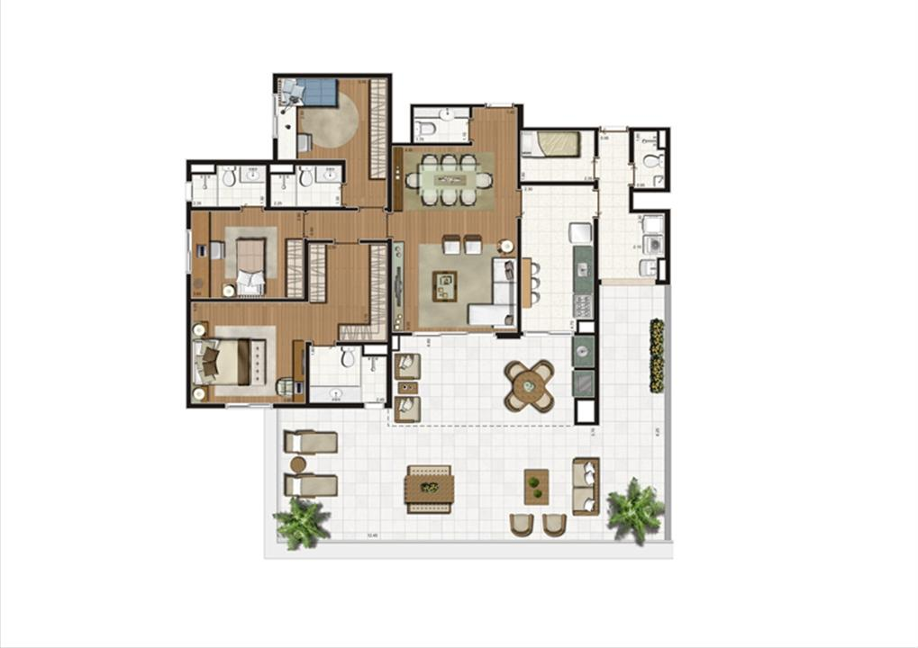 Planta Terrazzo 202 m² | Luzes da Mooca - Villaggio Luna – Apartamentona  Mooca - São Paulo - São Paulo