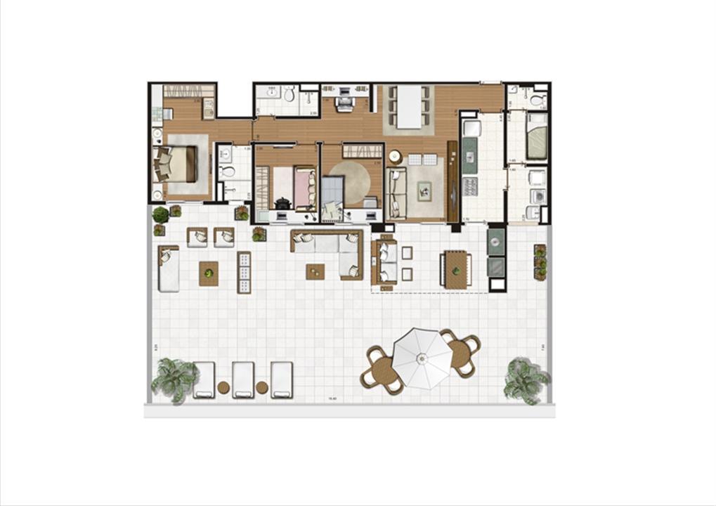 Planta Terrazzo 223 m² | Luzes da Mooca - Villaggio Luna – Apartamentona  Mooca - São Paulo - São Paulo