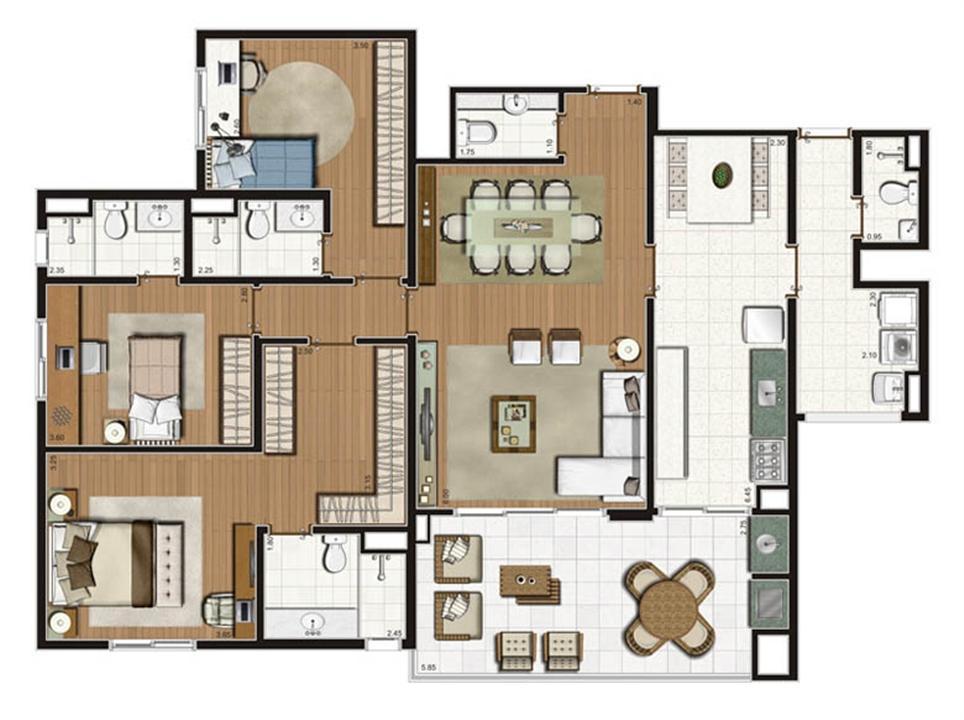 Planta-opção apartamento 141 m² privativos 3 suítes | Luzes da Mooca - Villaggio Luna – Apartamentona  Mooca - São Paulo - São Paulo