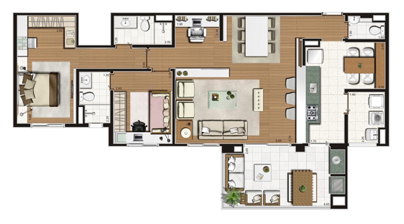 Planta-opção apartamento de 110 m² privativos 2 suítes | Luzes da Mooca - Villaggio Luna – Apartamentona  Mooca - São Paulo - São Paulo
