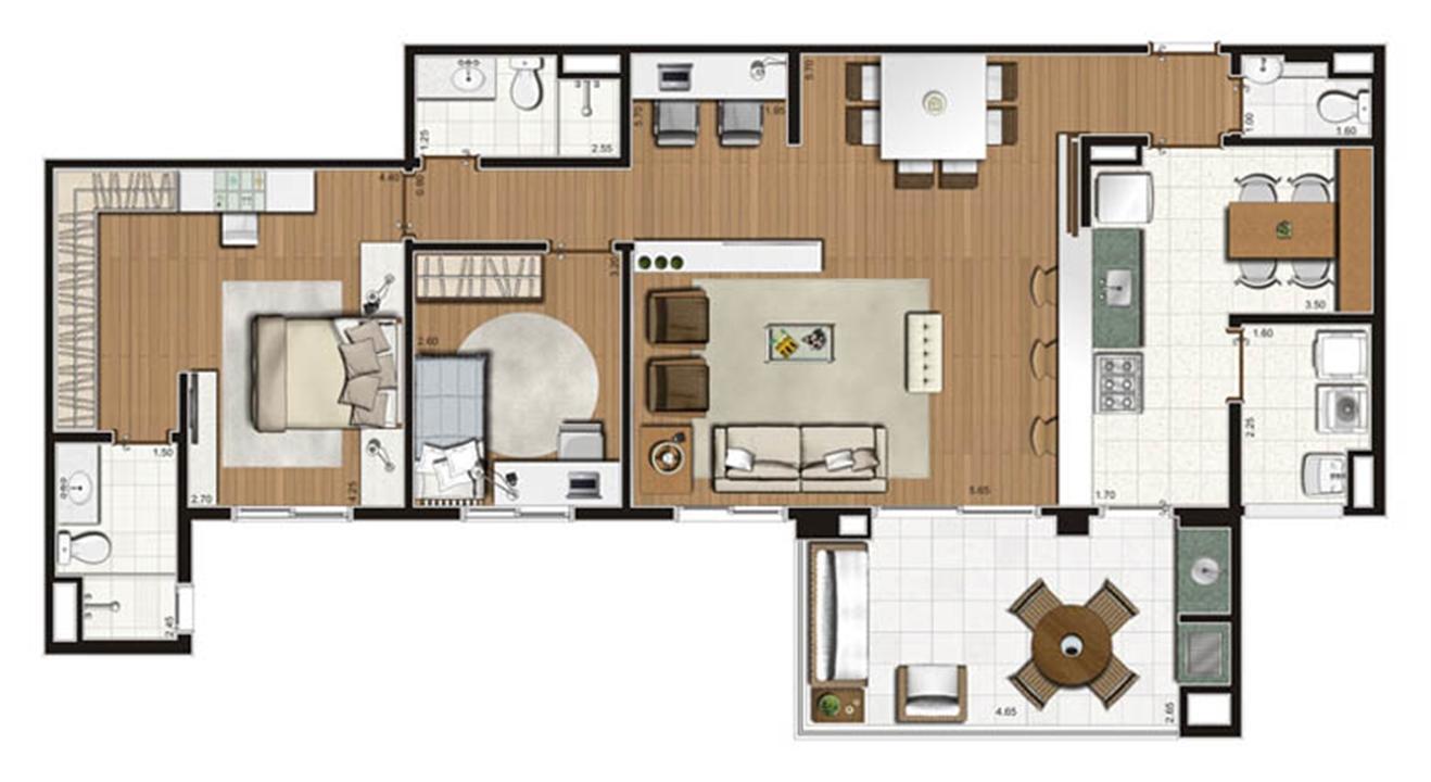 Planta-opção apartamento de 112 m² privativos 2 dorms. (1 suíte) | Luzes da Mooca - Villaggio Luna – Apartamentona  Mooca - São Paulo - São Paulo